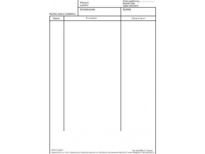 Zápis o průběhu ošetření - vložka bez čar 20 x 28 cm
