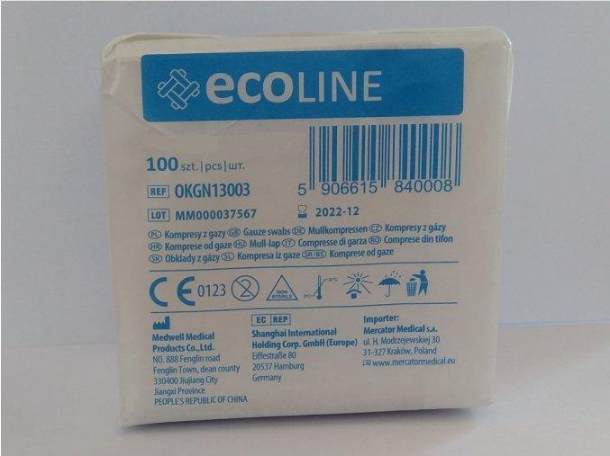 Gázový kompres ECOLINE, 7,5 x 7,5 cm 17/8, sterilní - 5 ks