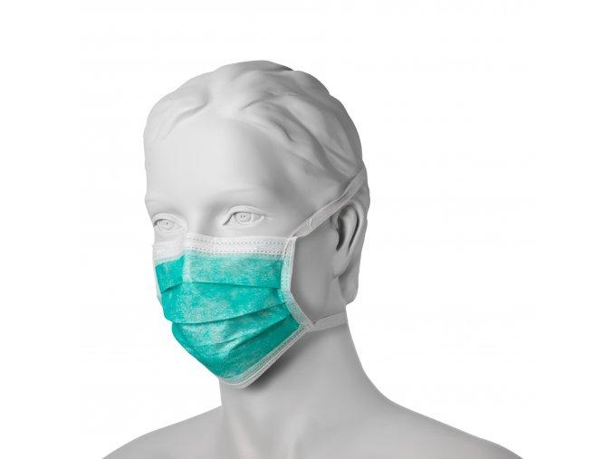 Chirurgicka maska z netkane textile vazana zelena