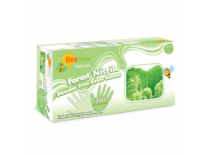 Nitrilové rukavice BEESURE® Forest Nitrile, extra jemné (bez pudru), světle zelené, 300ks