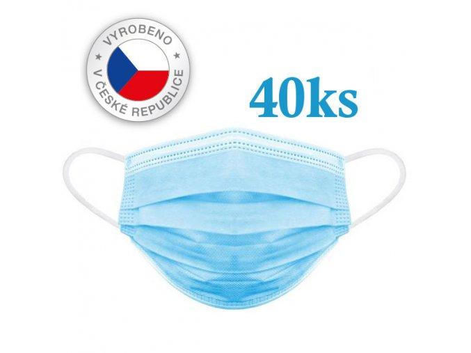Rouška / ústenka chirurgická ochranná na gumičku modrá, 40ks