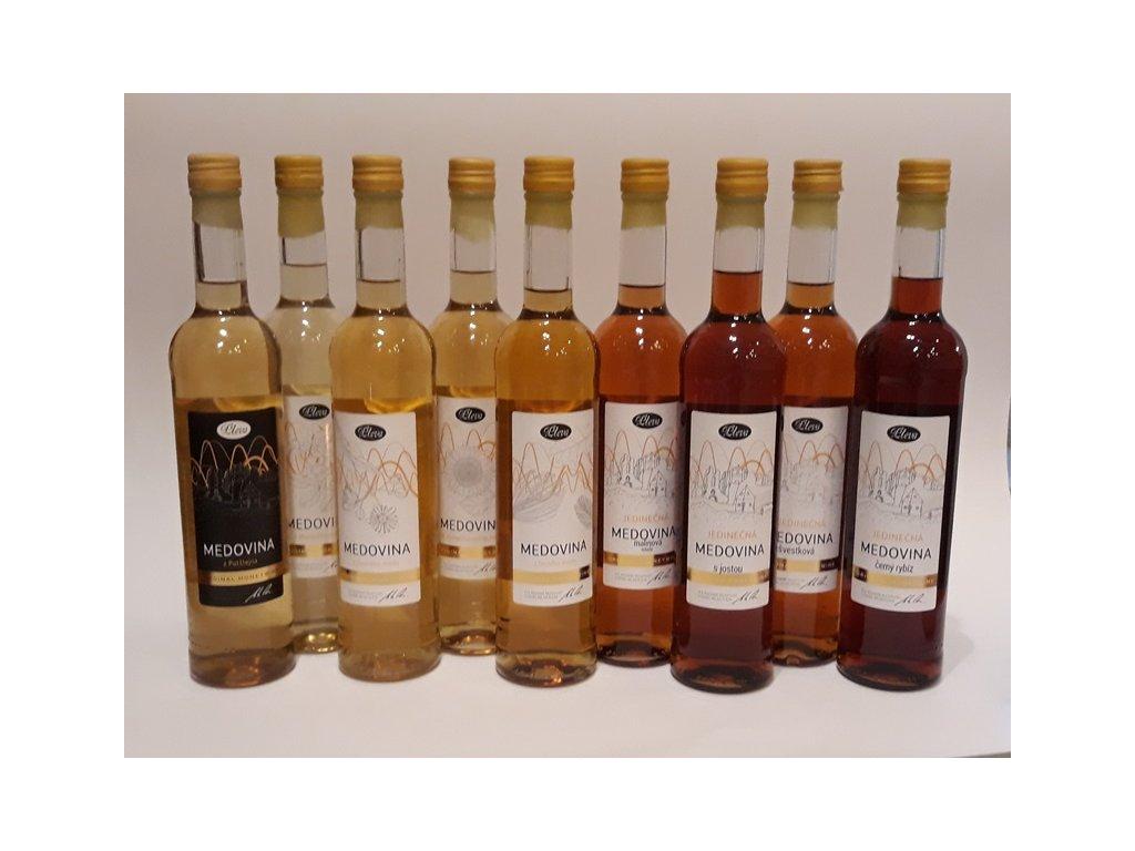 Pleva - Speciální kolekce druhových a jedinečných medovin (9 ks)  sklo