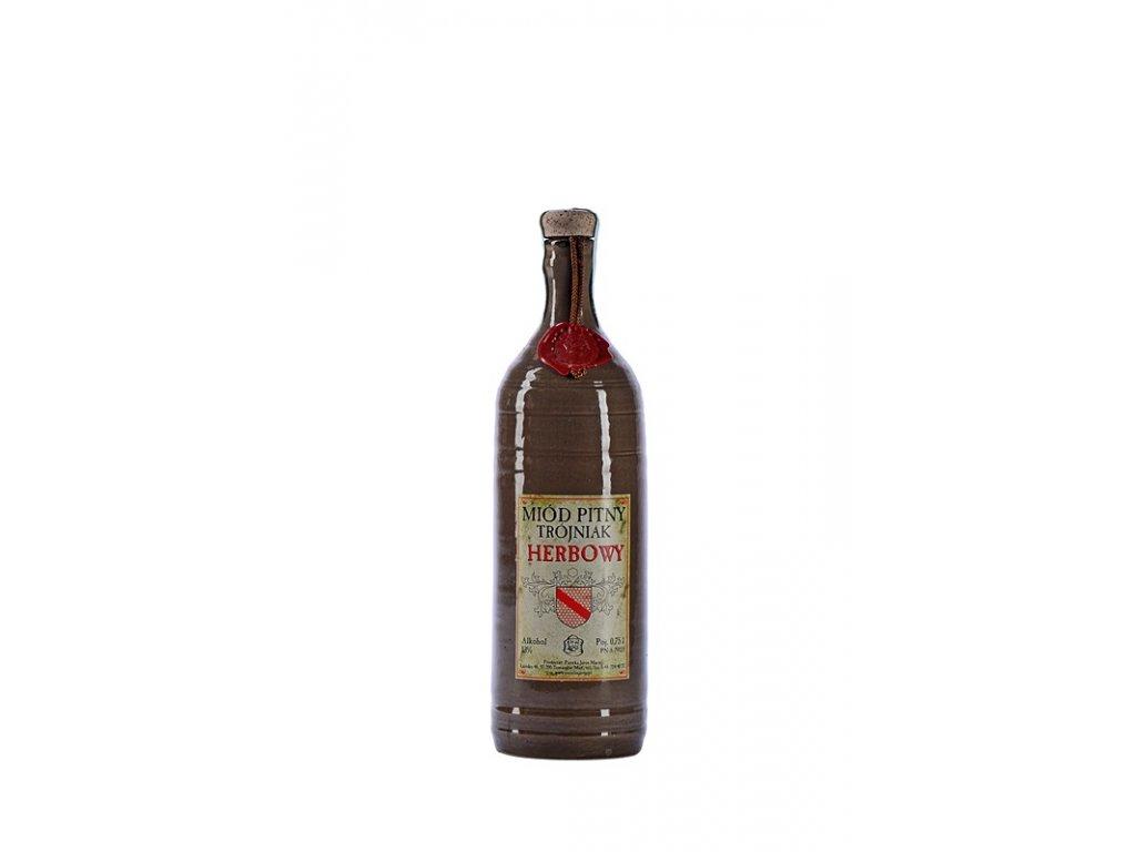 Pasieka Jaros - Miód pitny Trójniak - Herbowy - bylinný - 0,75 l  keramika