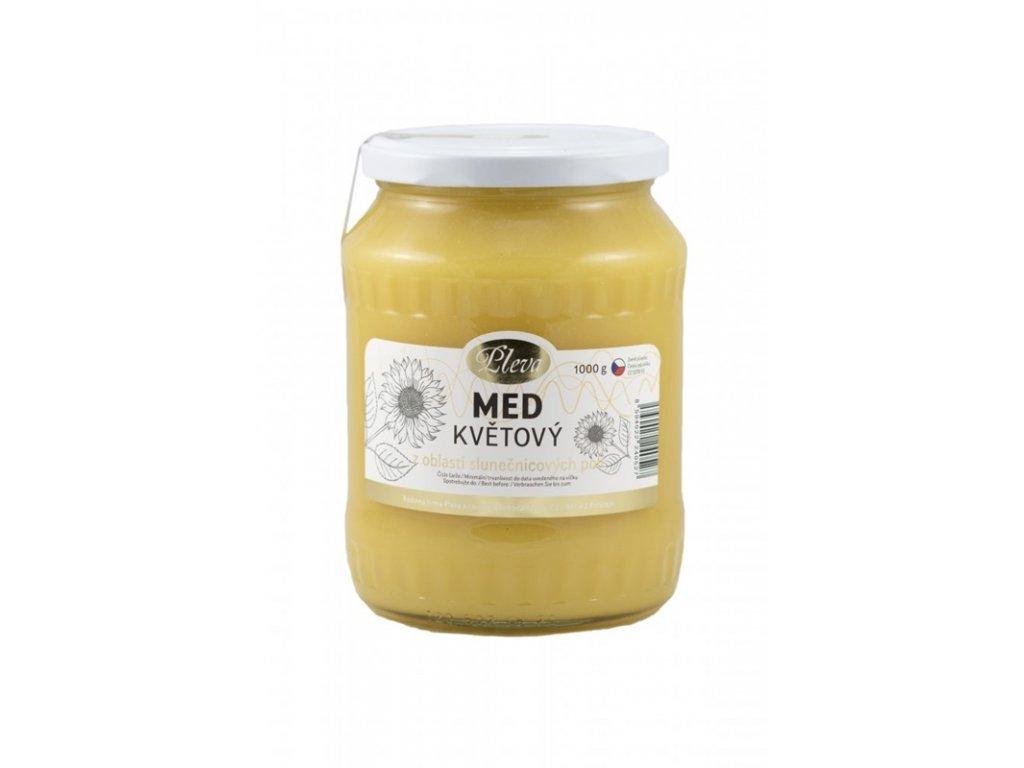 Pleva - Med květový z oblasti slunečnicových polí - 1 kg  sklo