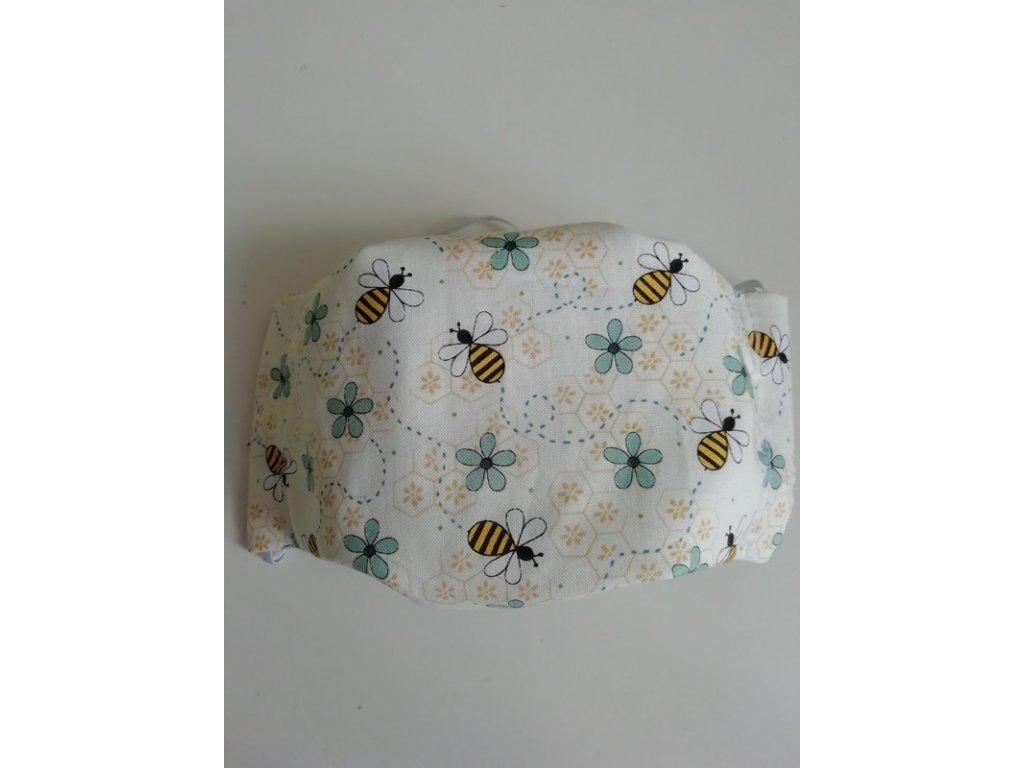 Rouška se včeličkami