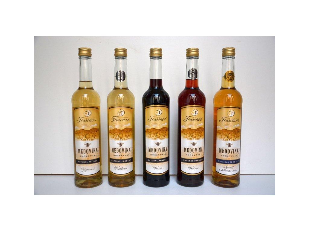 Včelařství Třasoňovi - Výhodná kompletní kolekce medovin (5 ks)  sklo