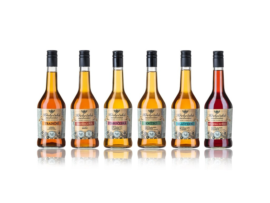 Hřebečská medovina - Výhodný set tradičních medovin (6x2) (12 ks)  sklo
