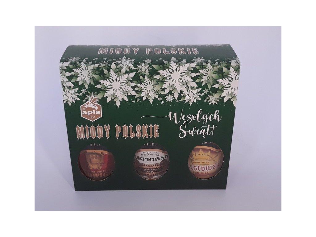 Apis - Miody polskie - Dárková krabička s 3 druhy medovin (vánoční verze) - 0,75 l