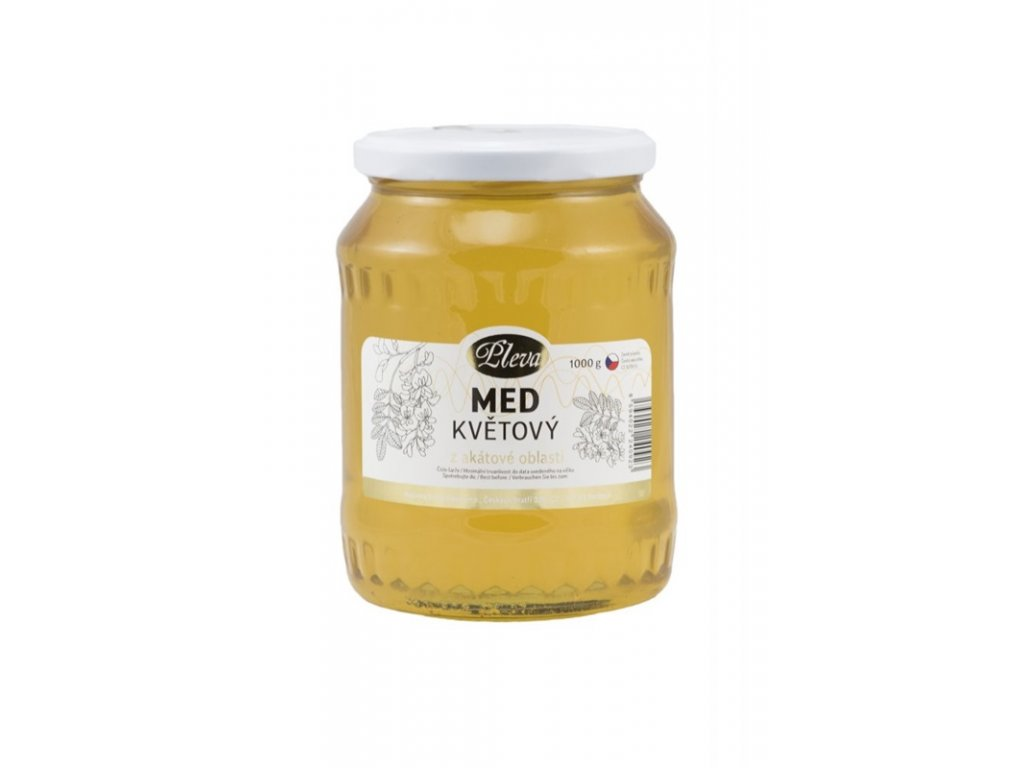 Pleva - Med květový z akátové oblasti - 1 kg  sklo