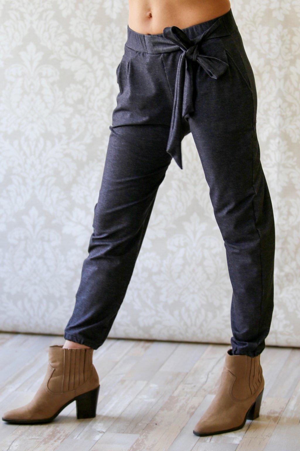 Džínové kalhoty s mašlí Kassandra / Antracit denim