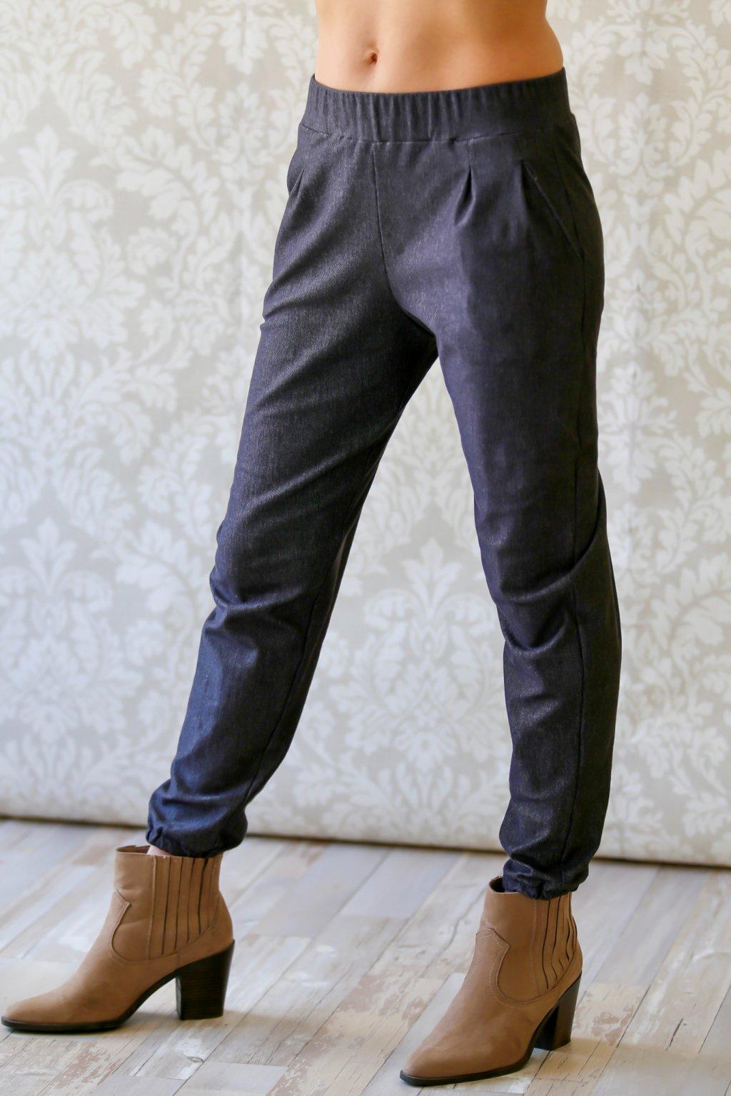 Džínové kalhoty bez mašle Kassandra / Antracit denim