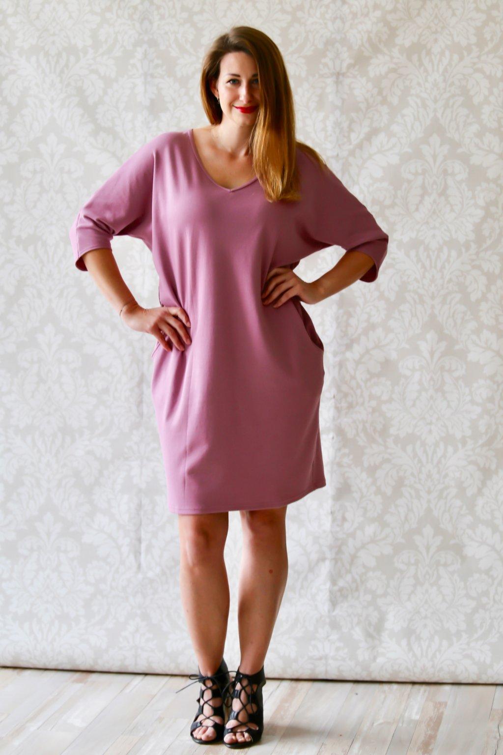 Véčkové elegantní šaty Juno / Fialkové