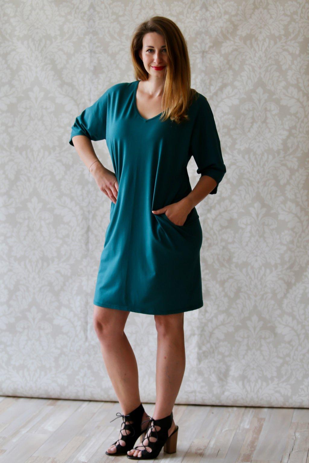 Véčkové elegantní šaty Juno / Petrolejové