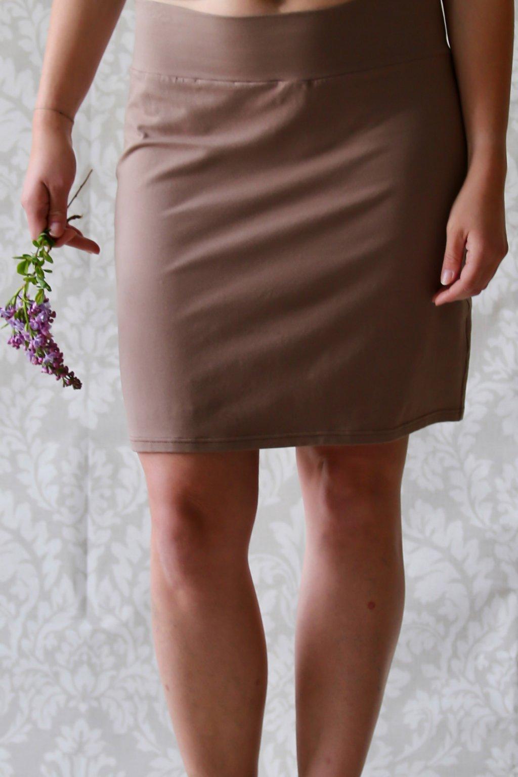 Výprodej - Rovná sukně Koruna / Latté