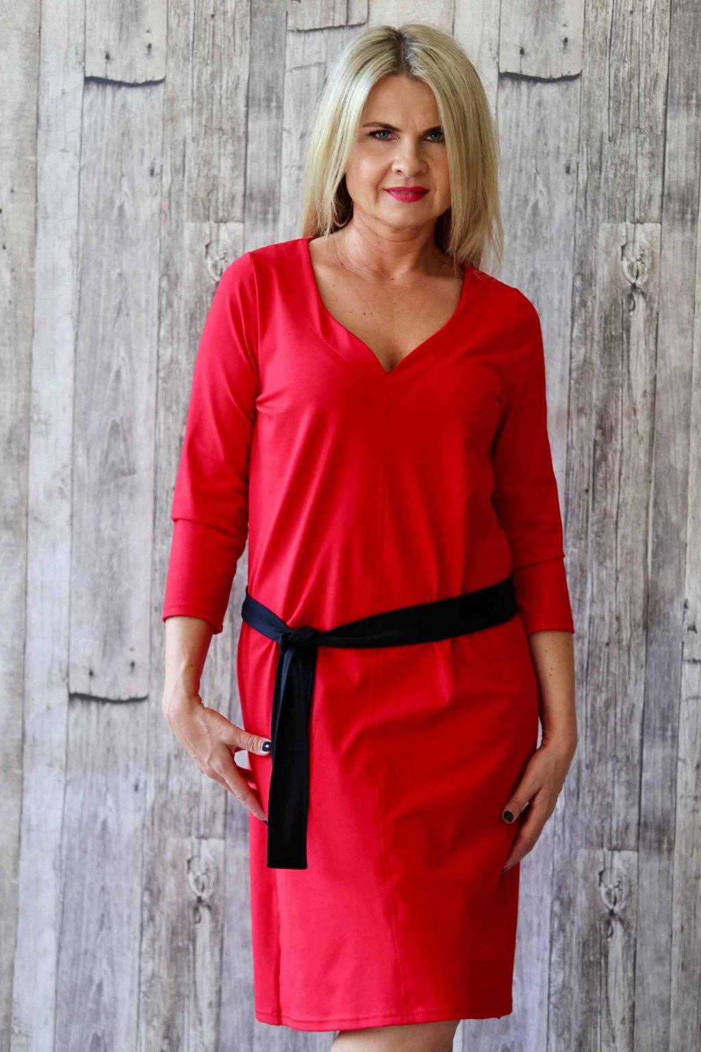 Šaty s originálním výstřihem Agáta / Červená