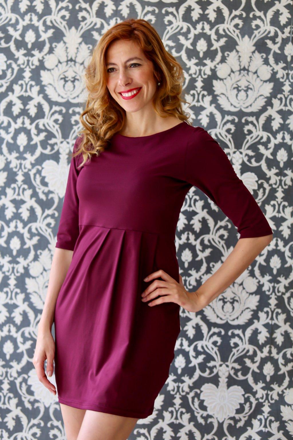 Lodičkové šaty s řasením Danaí / Bordó