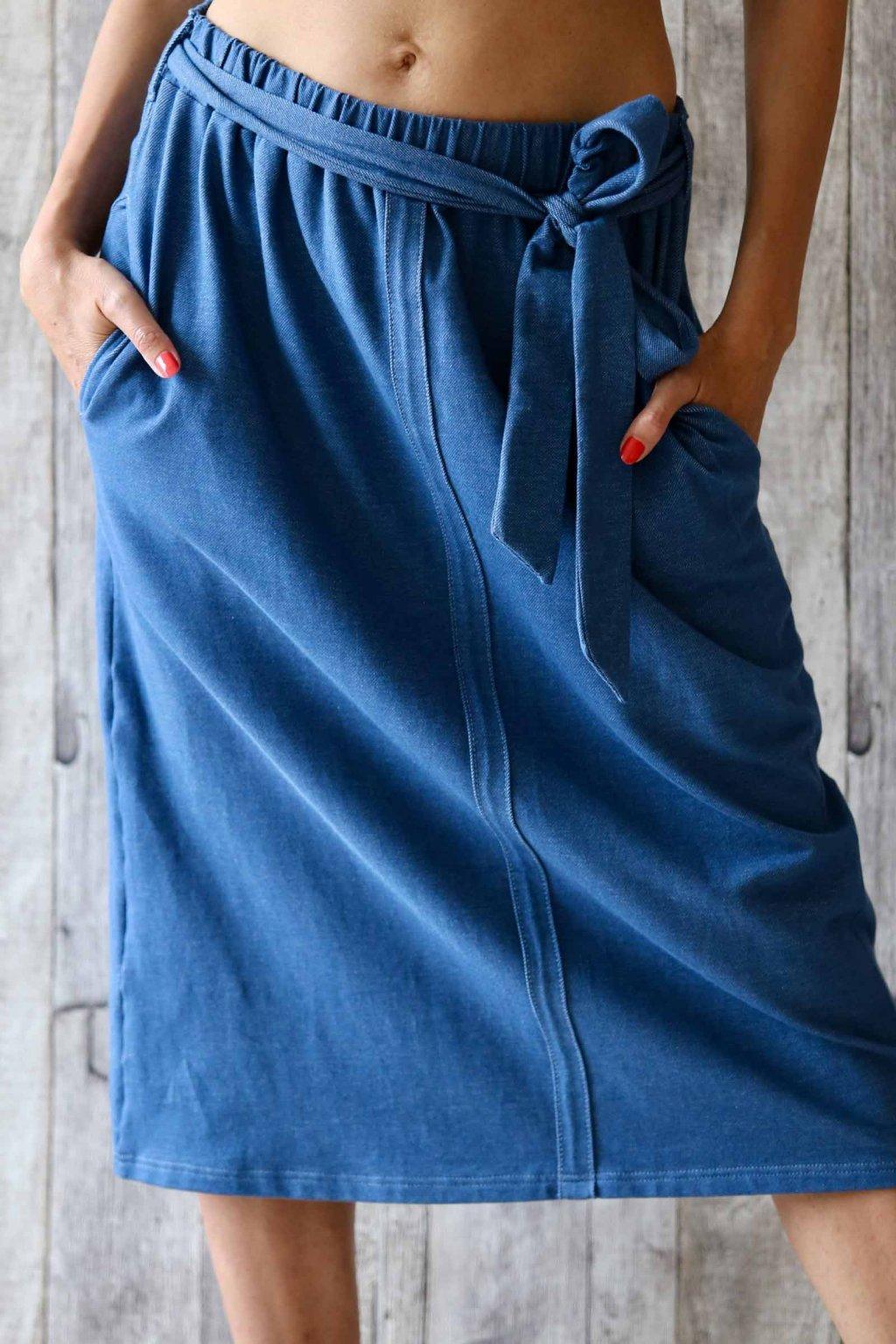 3/4 sukně s páskem na zavazování Kleopatra / Modrý Denim