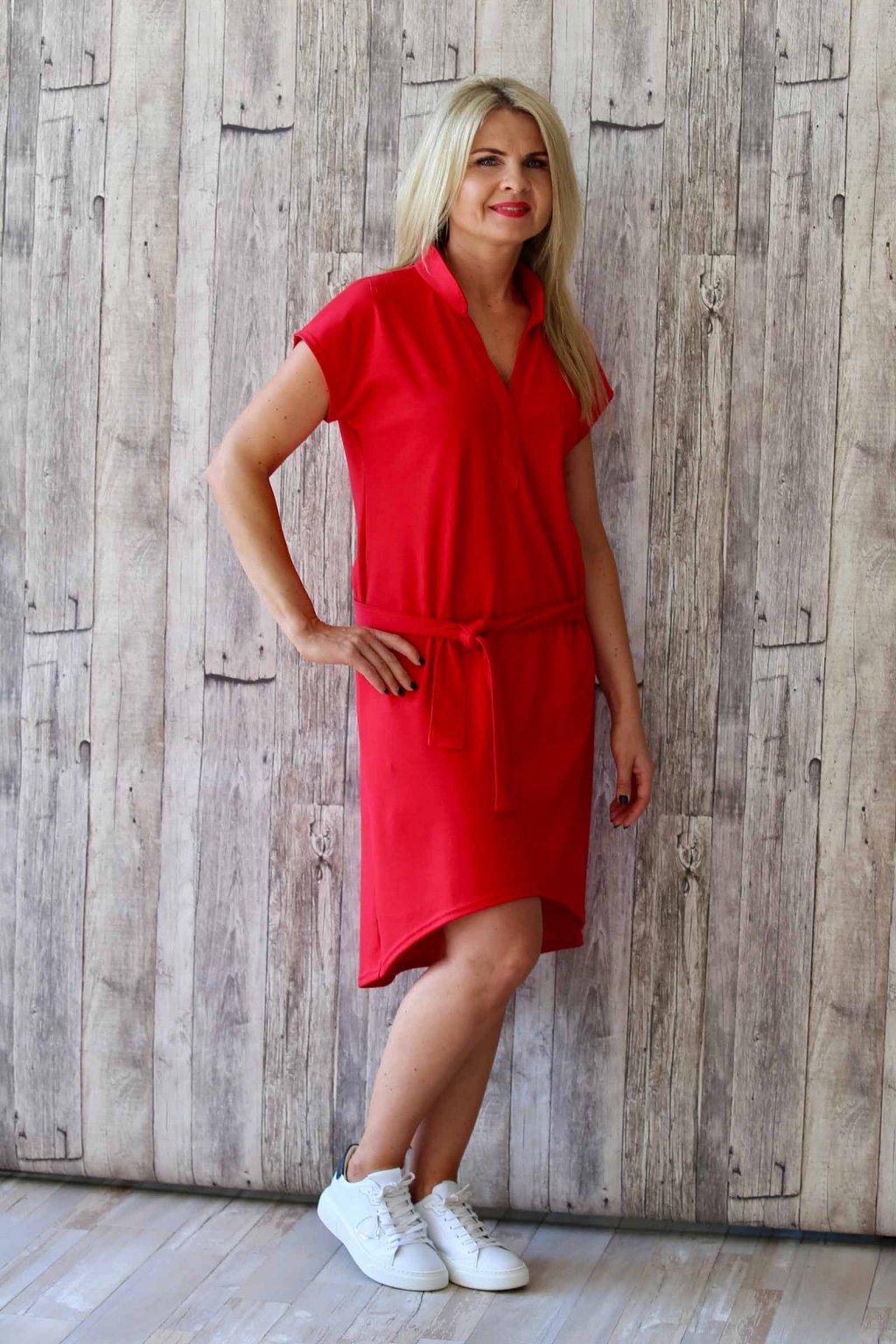 Dlouhé kimono šaty s páskem / Jasná červená