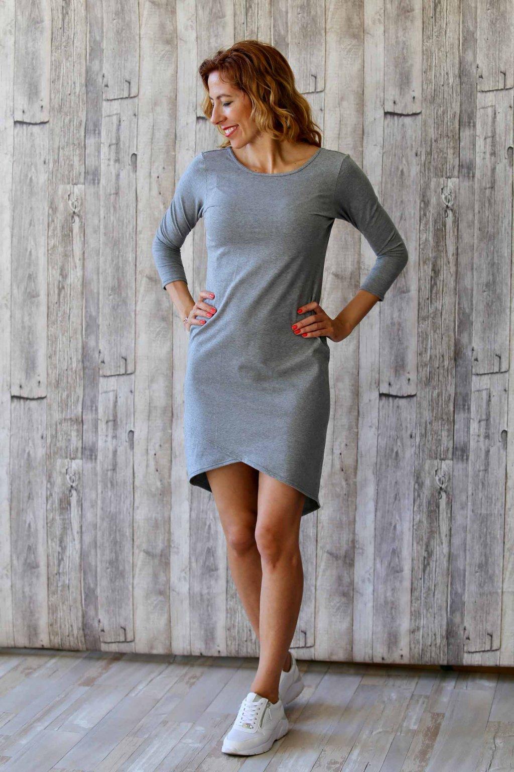 Elegantní lodičkové šaty Vanessa / Šedý melír