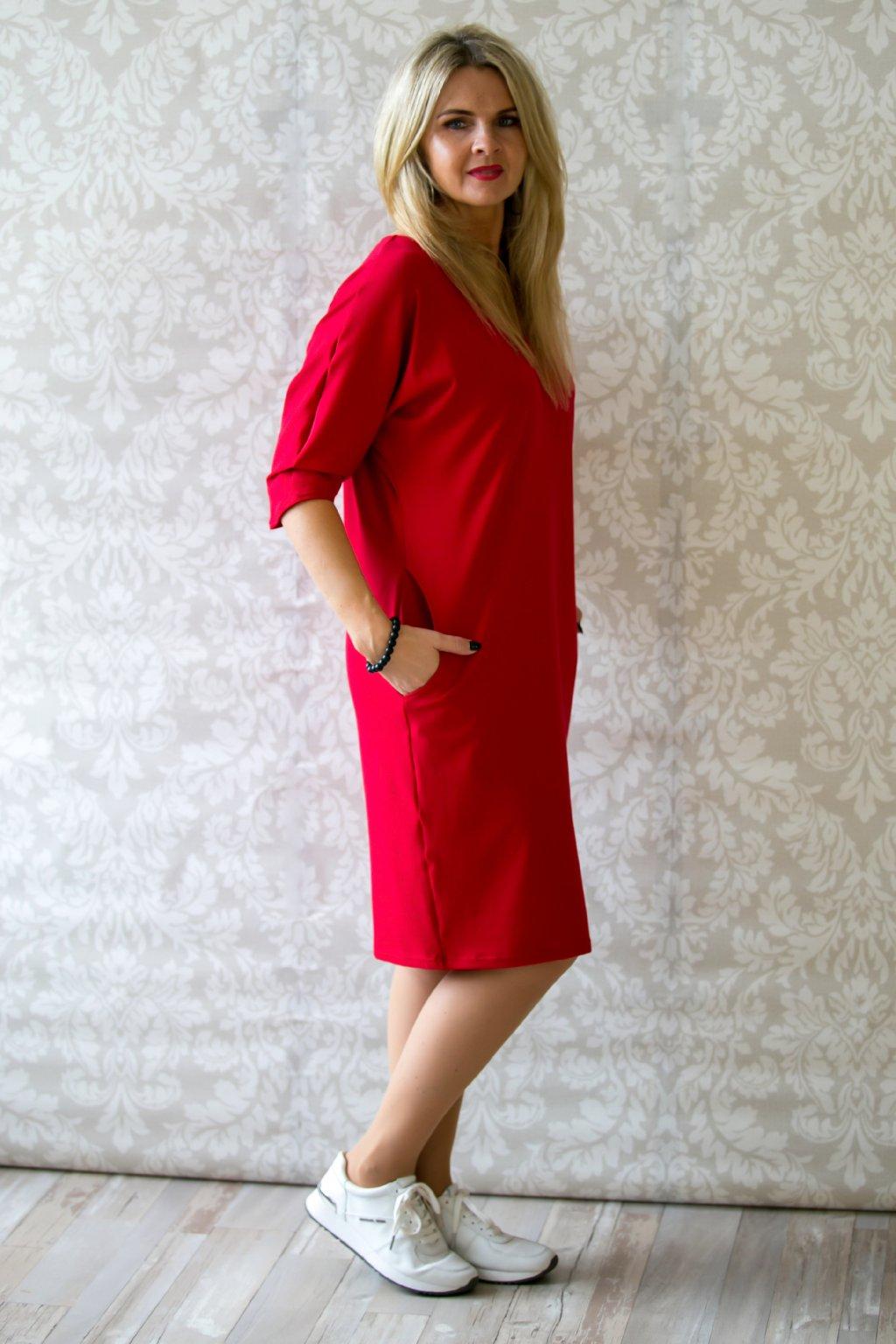 Véčkové elegantní šaty Juno / Červená