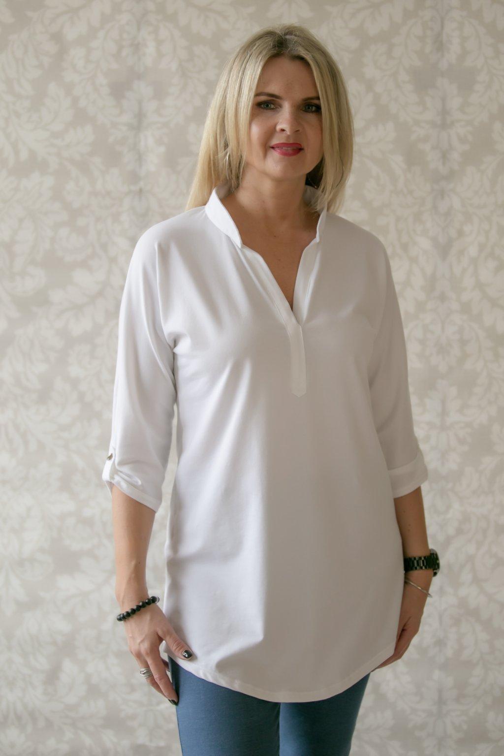 Oblíbená košilová tunika s 3/4 rukávem / Bílá
