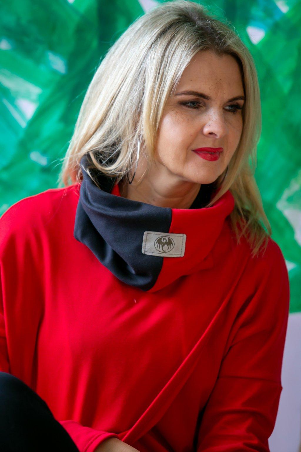 Elegantní nákrčník Minerva / Černá s Červenou