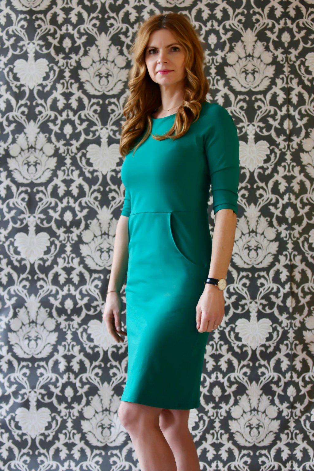 Lodičkové šaty s kapsami Danaí / Zelená