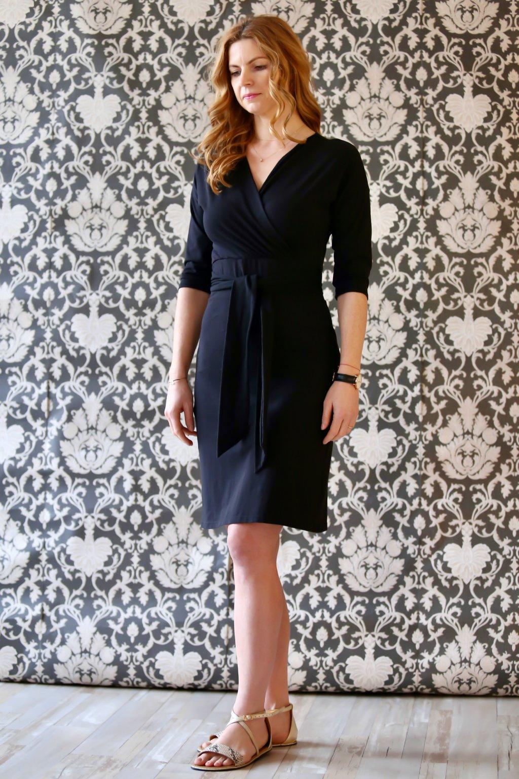Šaty Nina s páskem a s 3/4 rukávem / Černá