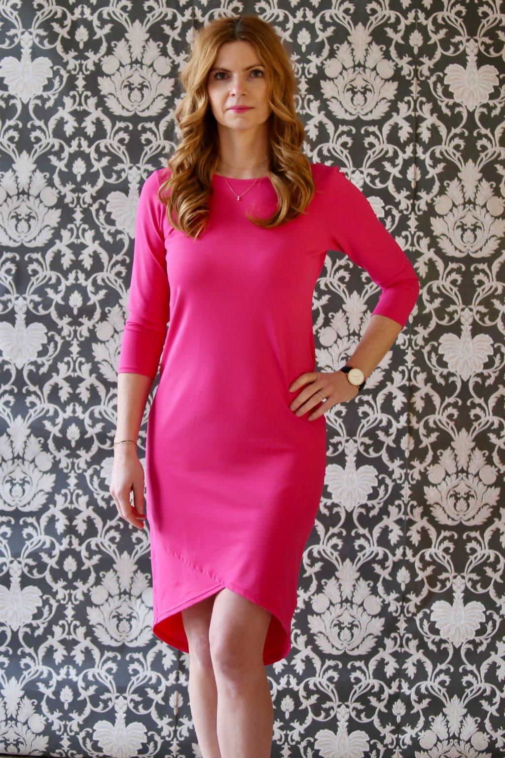 Elegantní lodičkové šaty Vanessa / Malinová