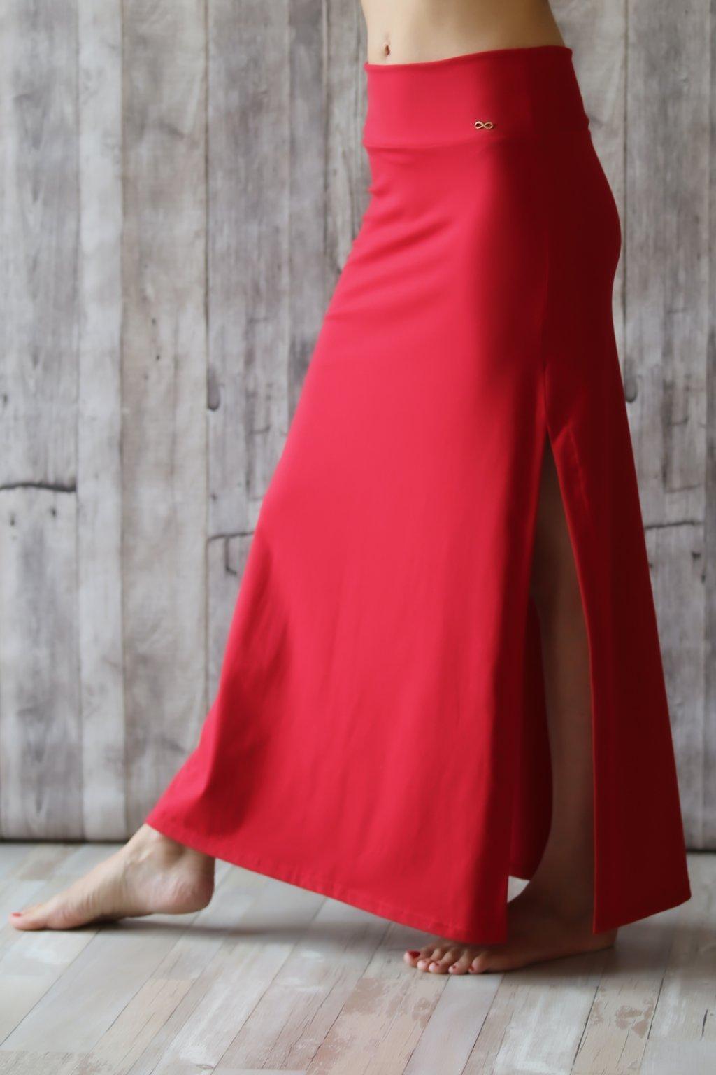 Dlouhá sukně s rozparkem Astarté / Červená