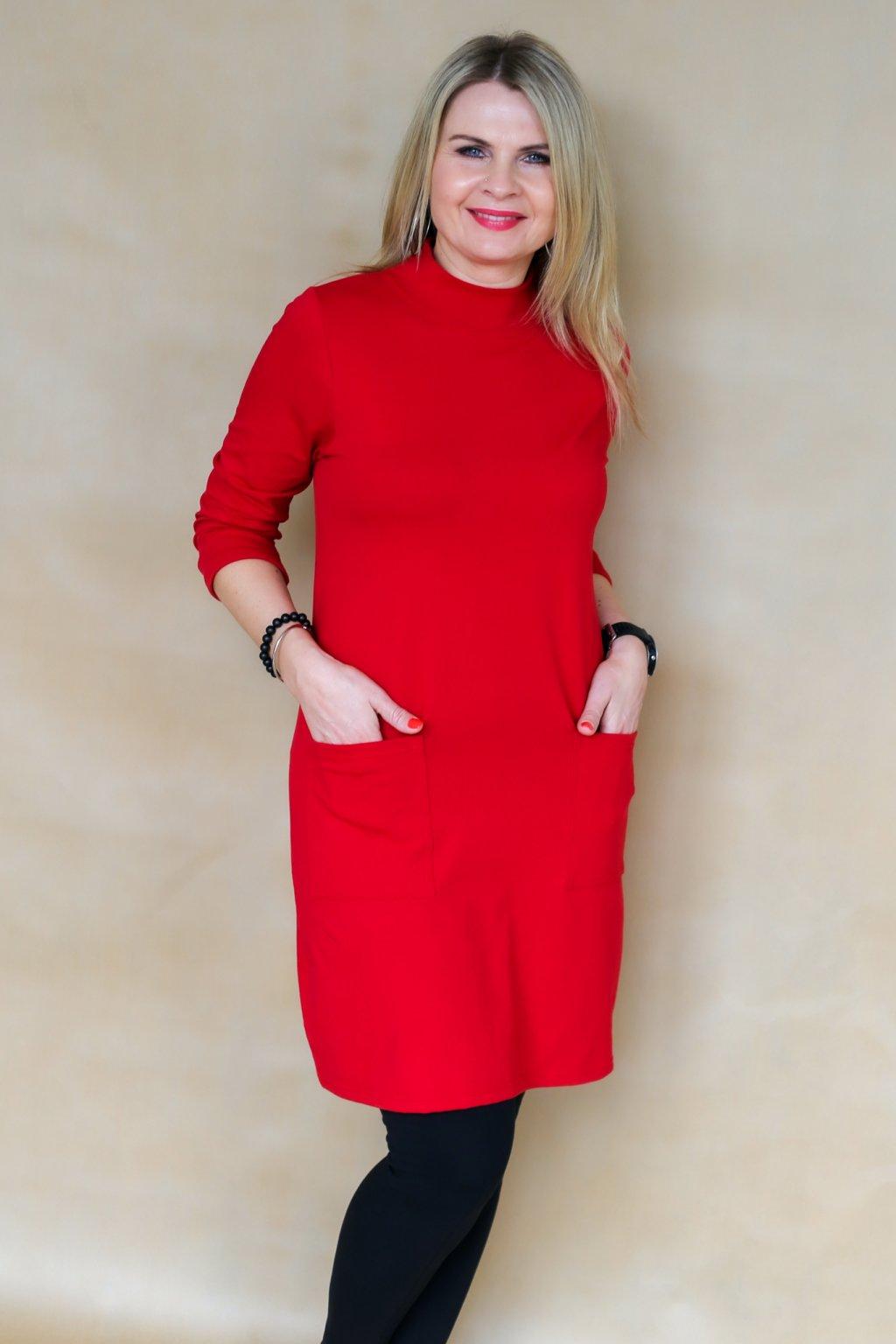 Šaty se stojáčkem a kapsami Nyx / Červená