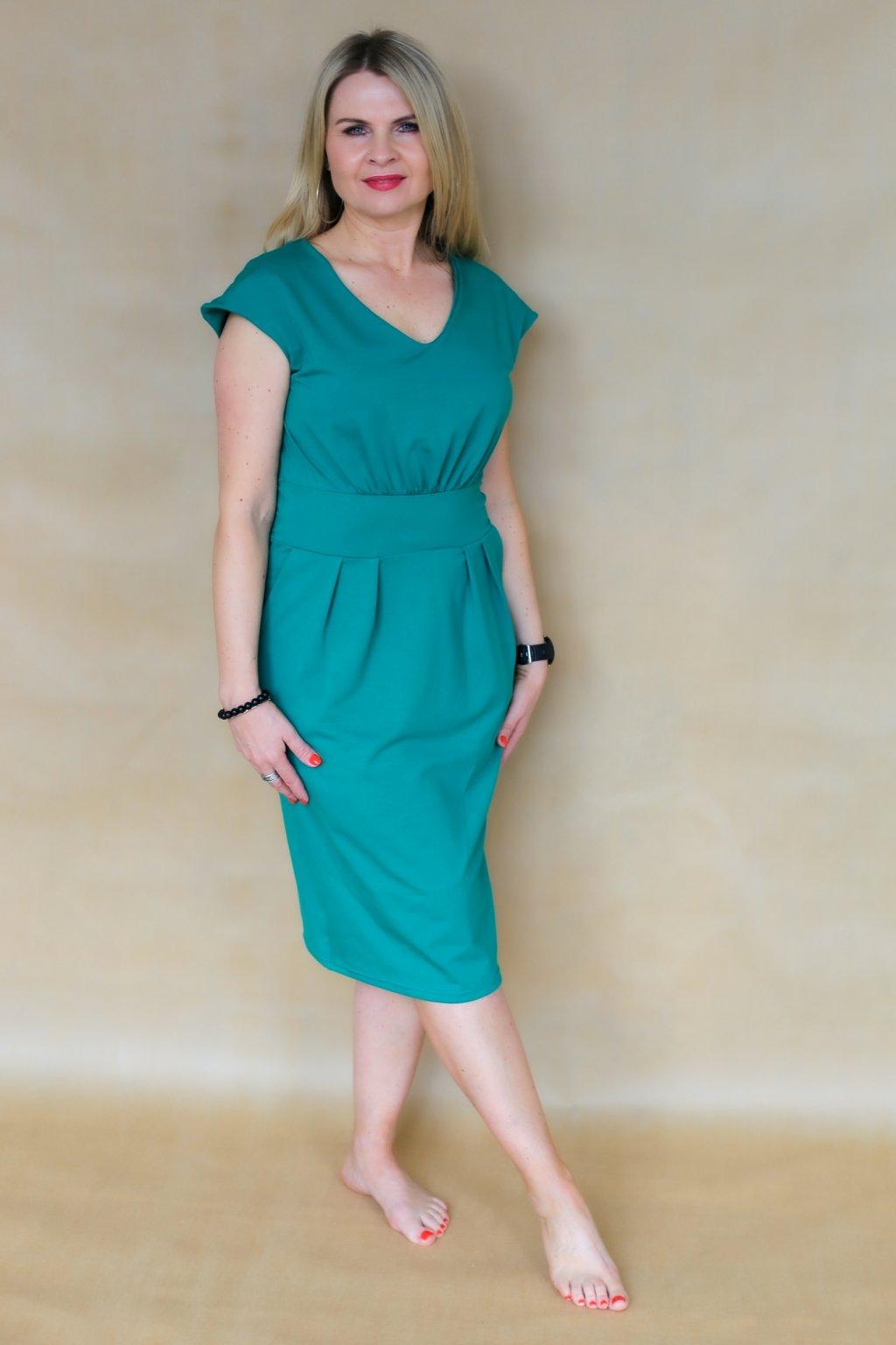 Ženské šaty Izabel s véčkem / Pastelová petrolejová