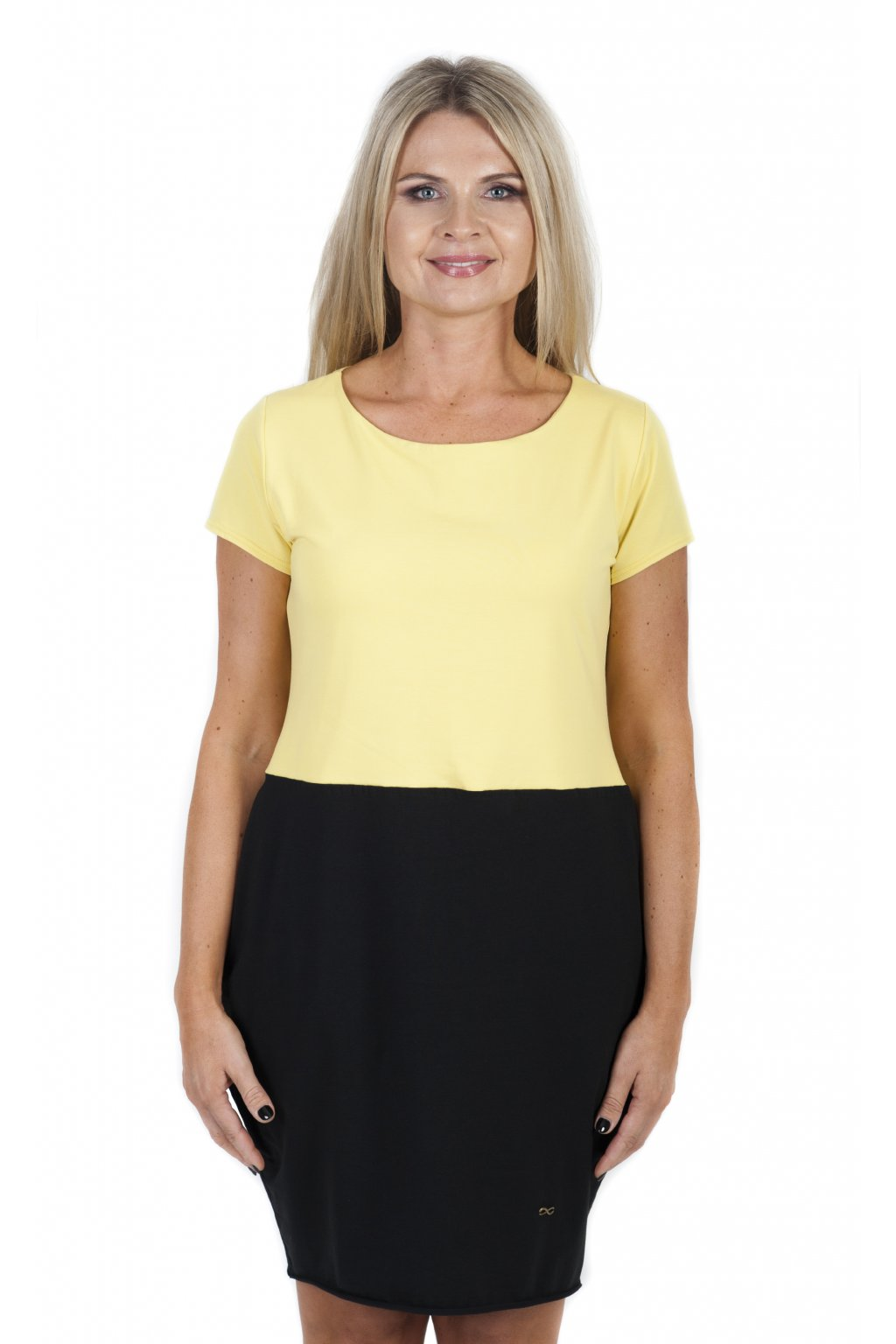 Božské šaty Afrodité půlené / Žlutá + Černá