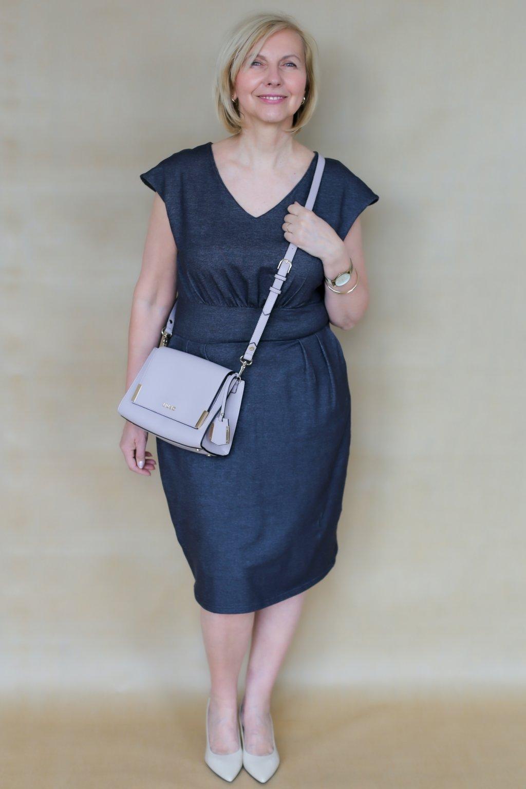 Ženské šaty Izabel s véčkem / Antracit denim