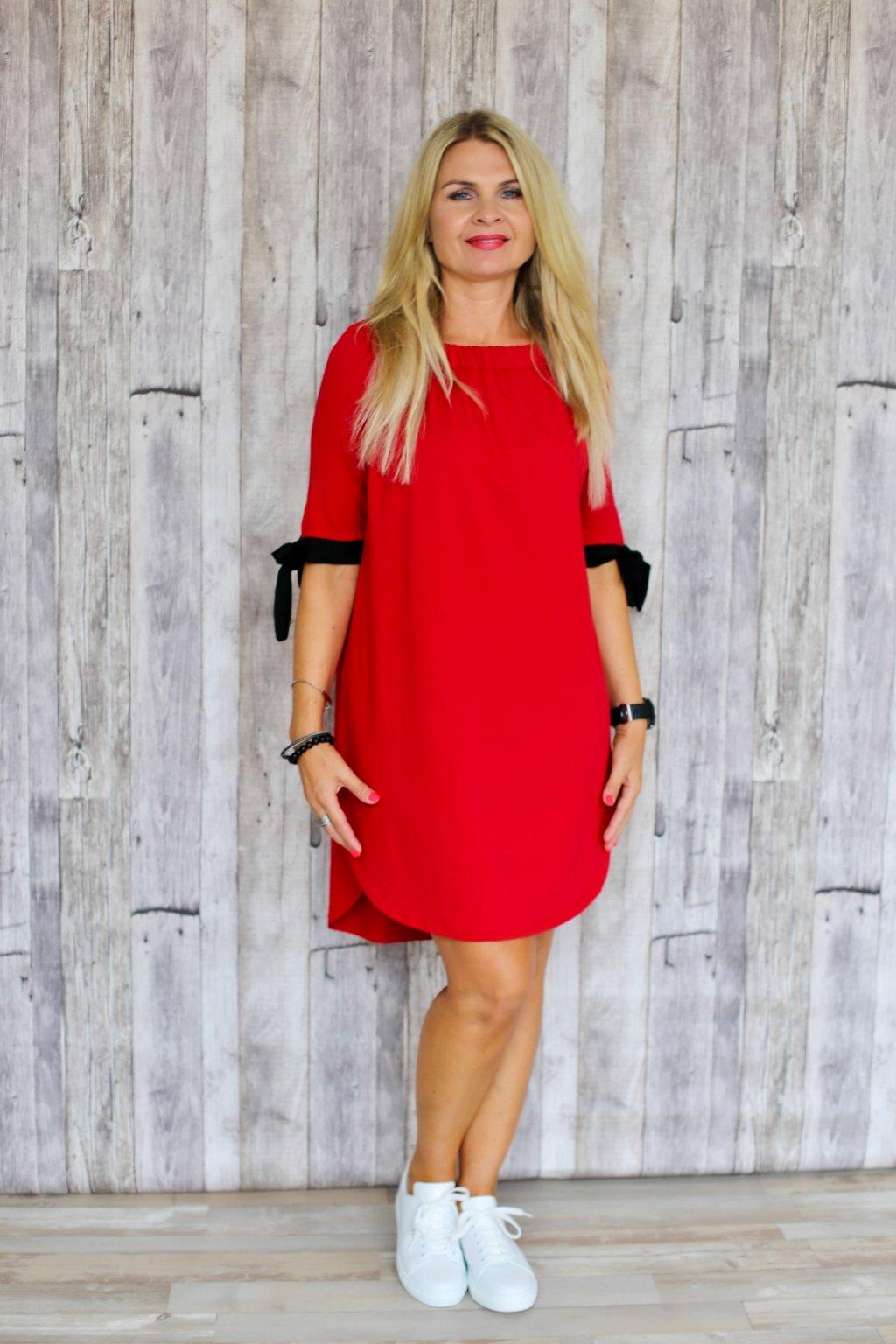Šaty s mašlemi Melissa / Červená