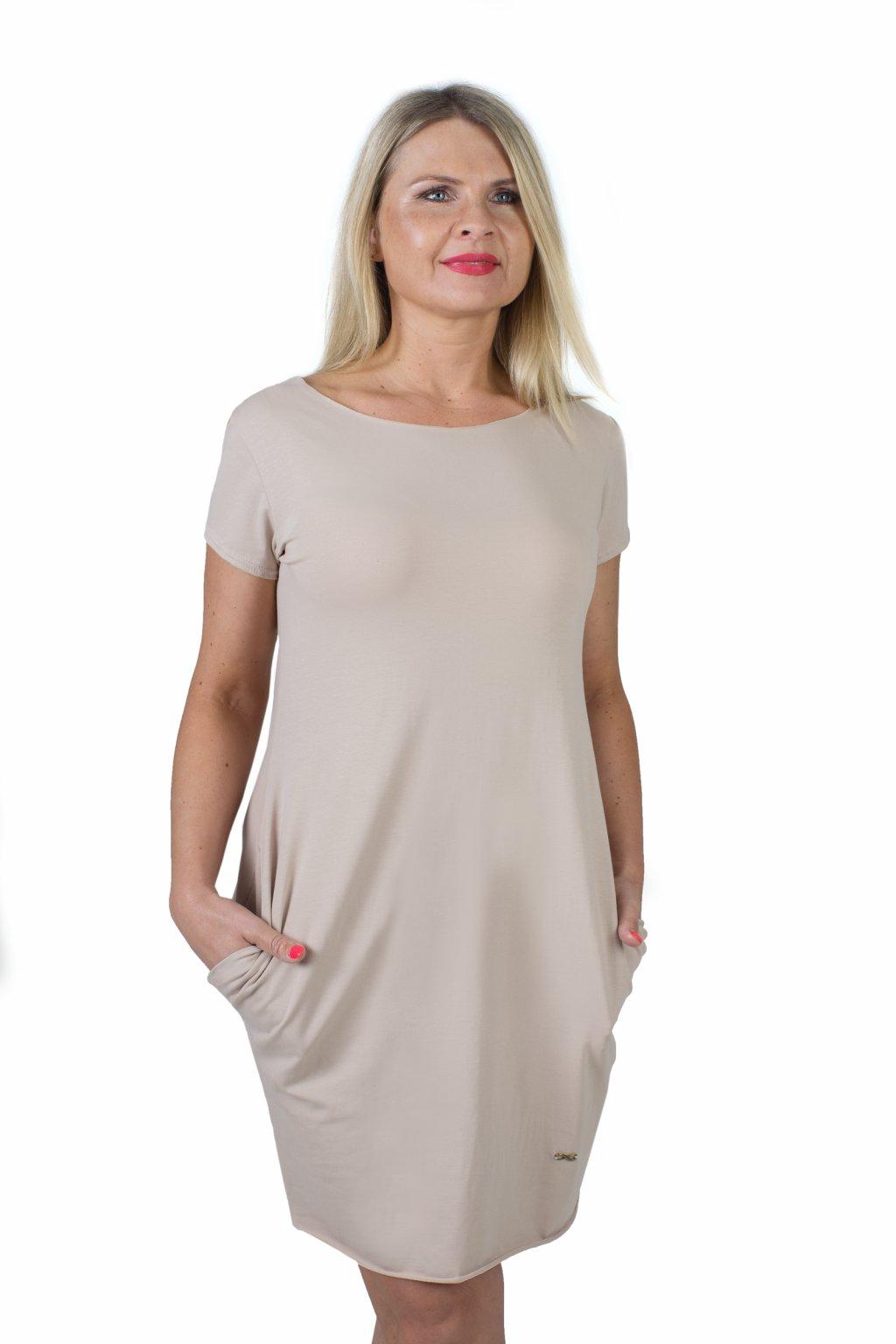 Božské šaty Afrodité s krátkým rukávem / Cappuccino