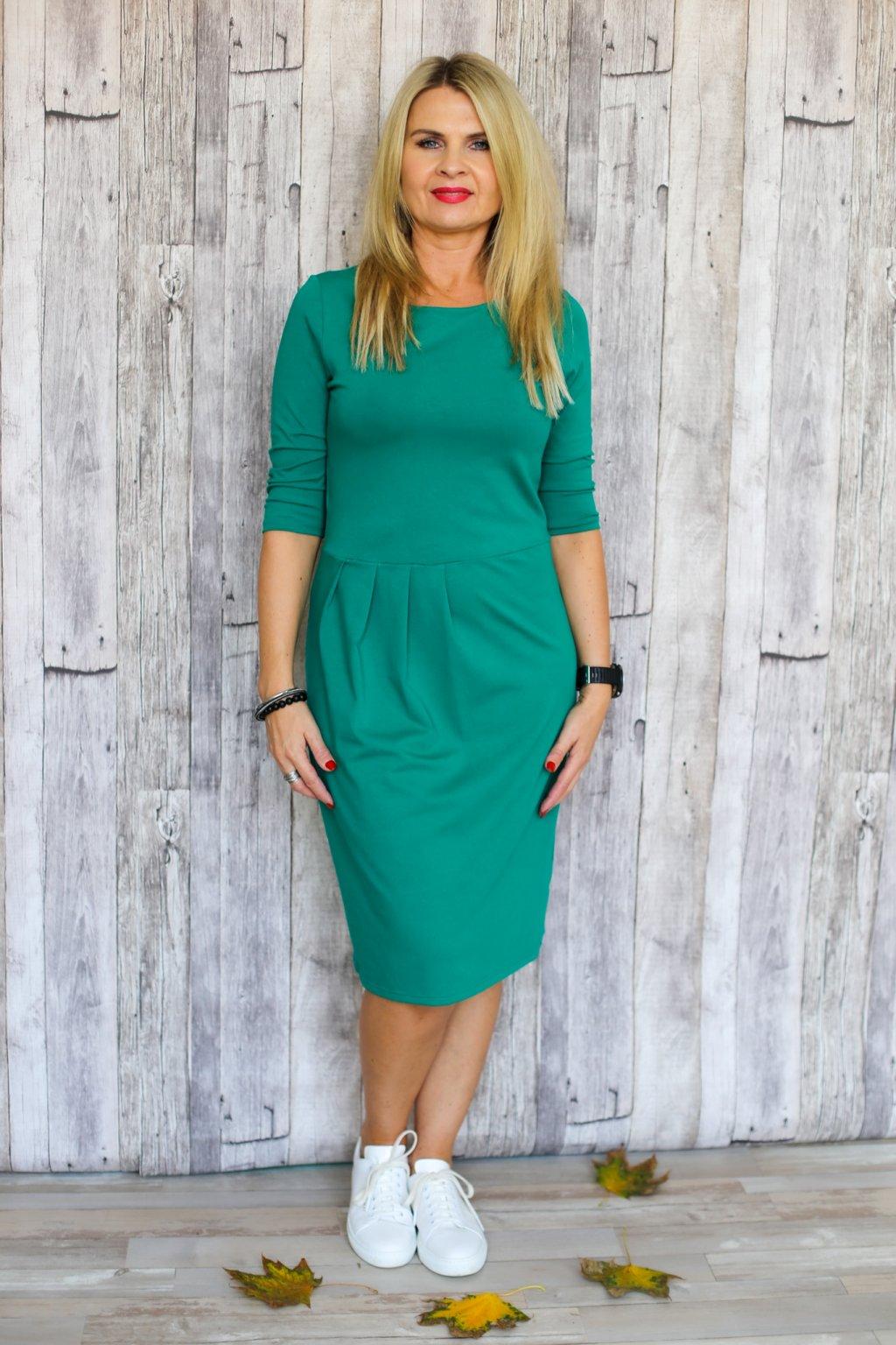Lodičkové šaty s řasením Danaí / Zelená