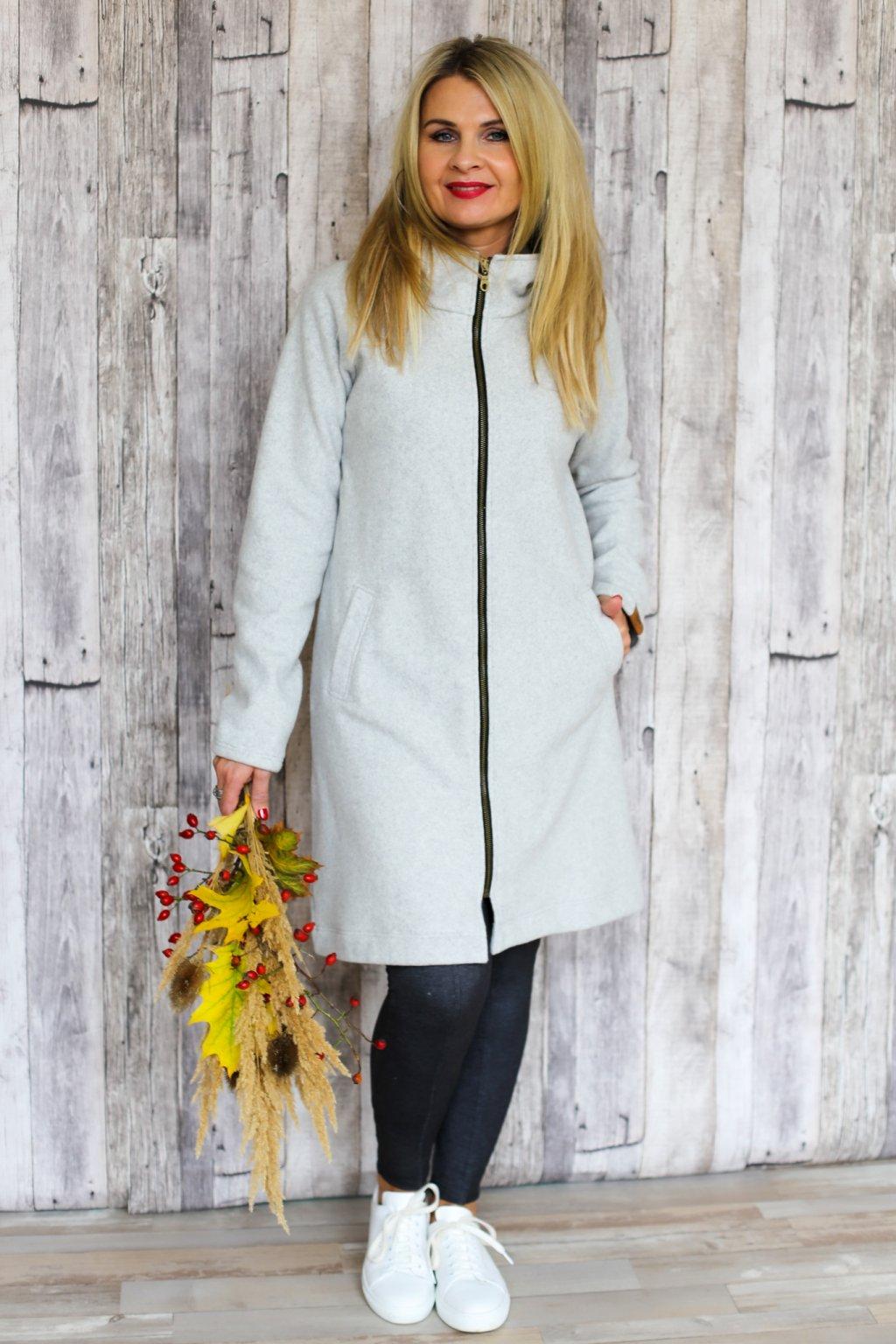 Šmrncovní kabát Psyché s kapucou / Světle šedý fleece