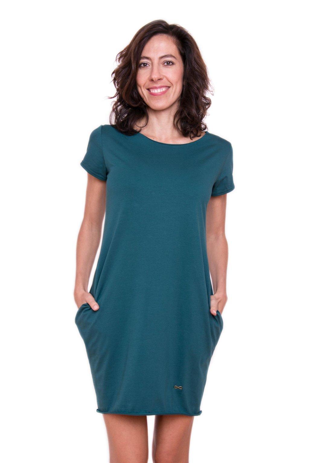 Božské šaty Afrodité s krátkým rukávem / Petrolejová