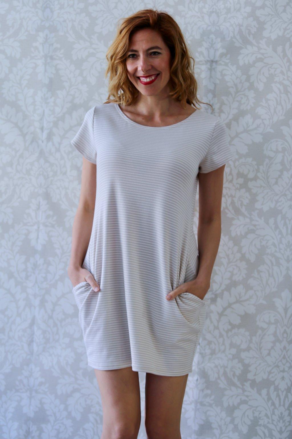 Božské šaty Afrodité s krátkým rukávem / Pruhované champagne + béžová
