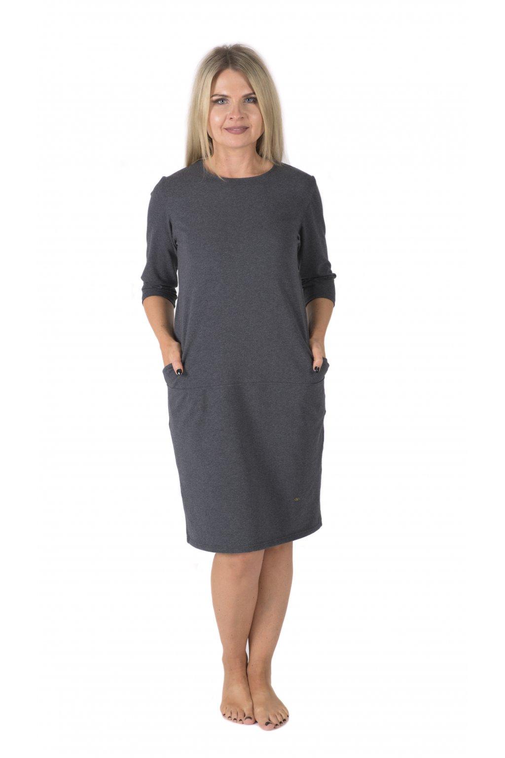 Ženské splývavé šaty Louisa / Černý melír