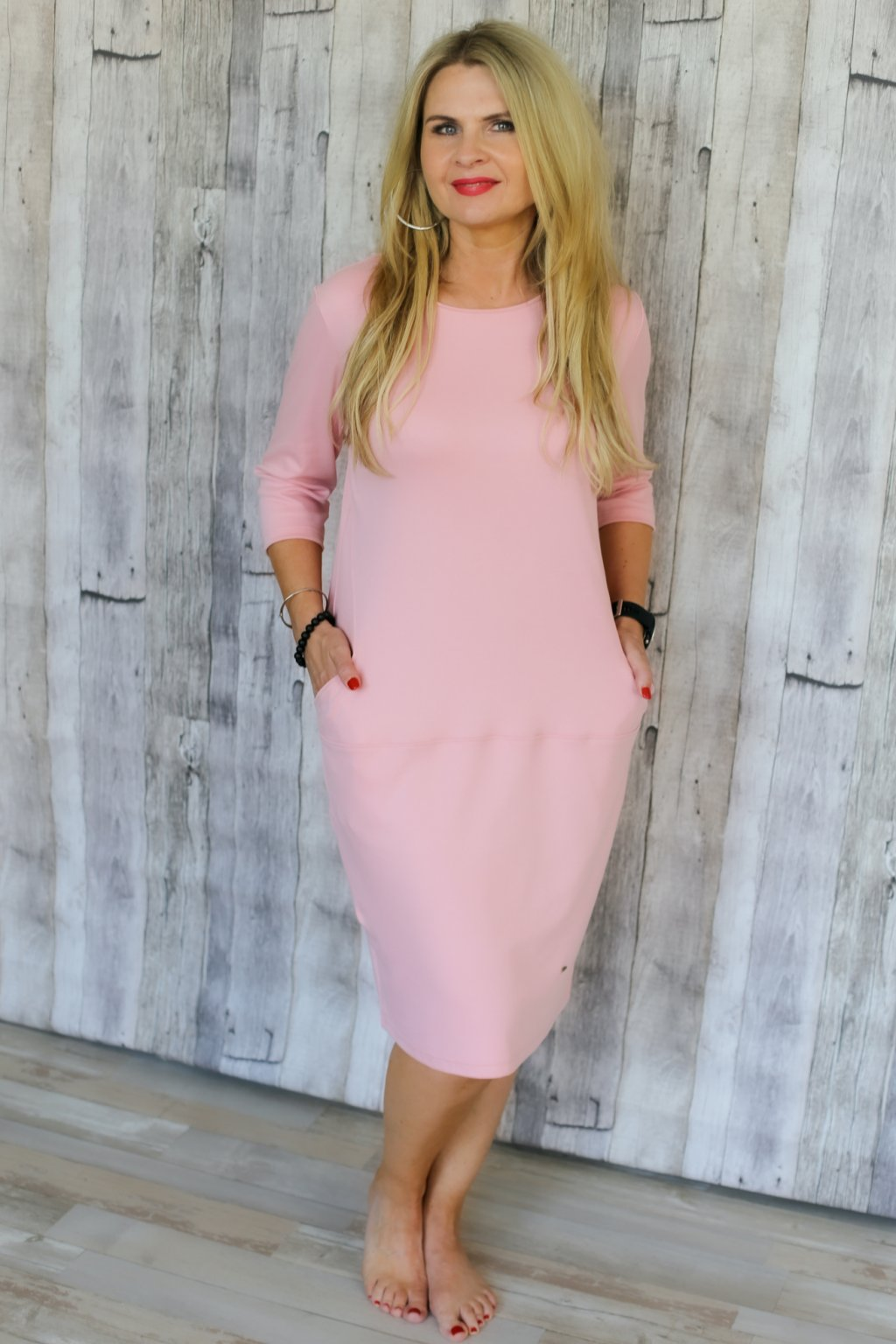 Ženské splývavé šaty Louisa / Starorůžová