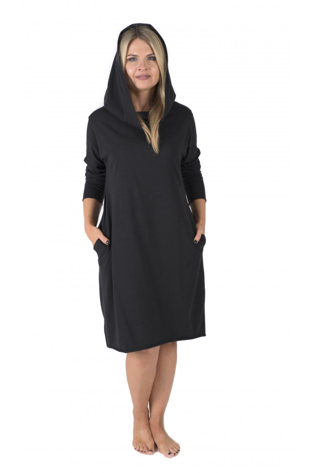 Šaty s kapucí a kapsami Arduinna / Černá