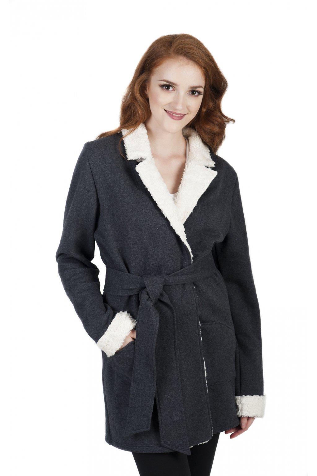 Hřejivý kabát ARTEMIS s plyšem / Antracit s bílou