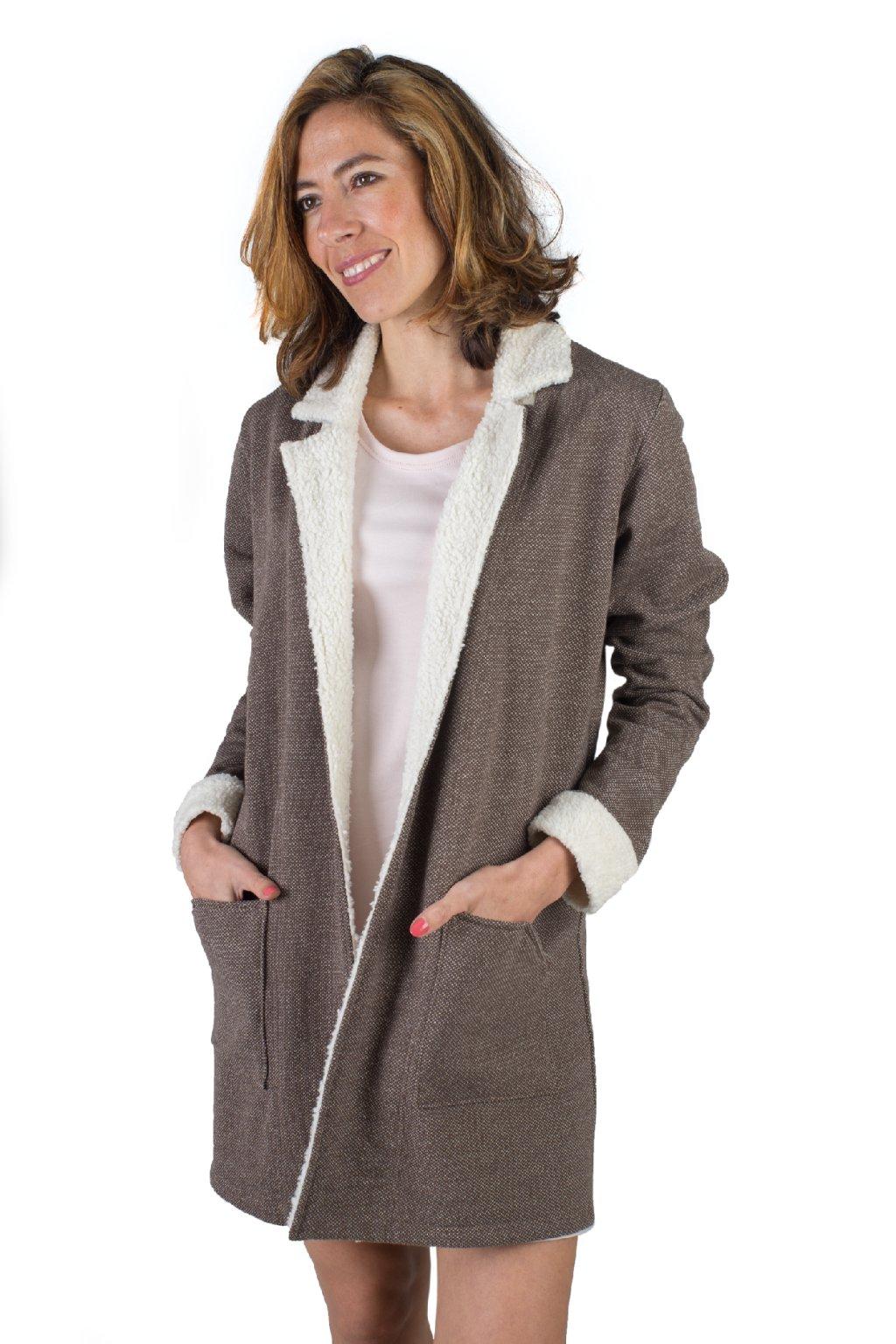 Hřejivý kabát ARTEMIS s plyšem / Hnědá s bílou