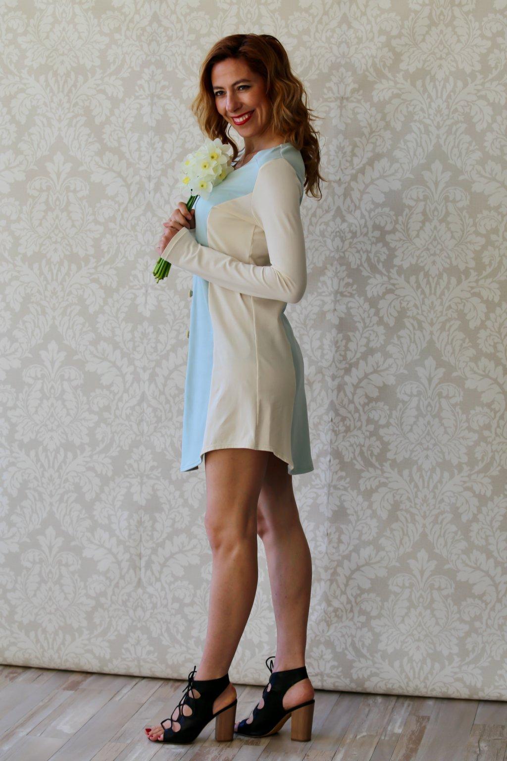 Košilové šaty Prakriti s knoflíky / Mintová a champagne