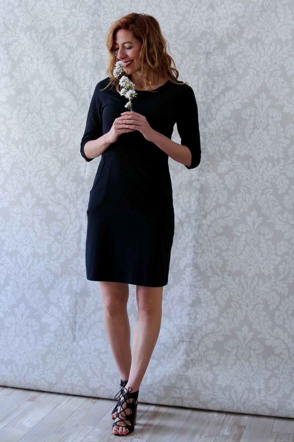 Lodičkové šaty s kapsami Danaí / Černá