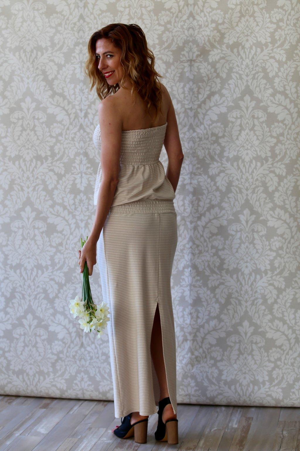 Overal s dlouhou sukní Marie / Cappuccino pruhovaná