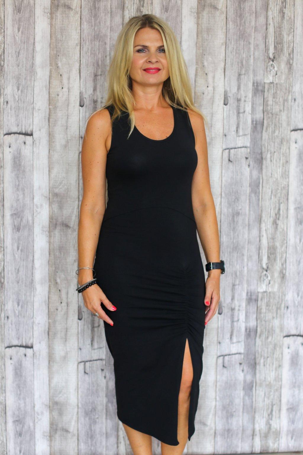 Šaty s rozparkem Athéna / Černá