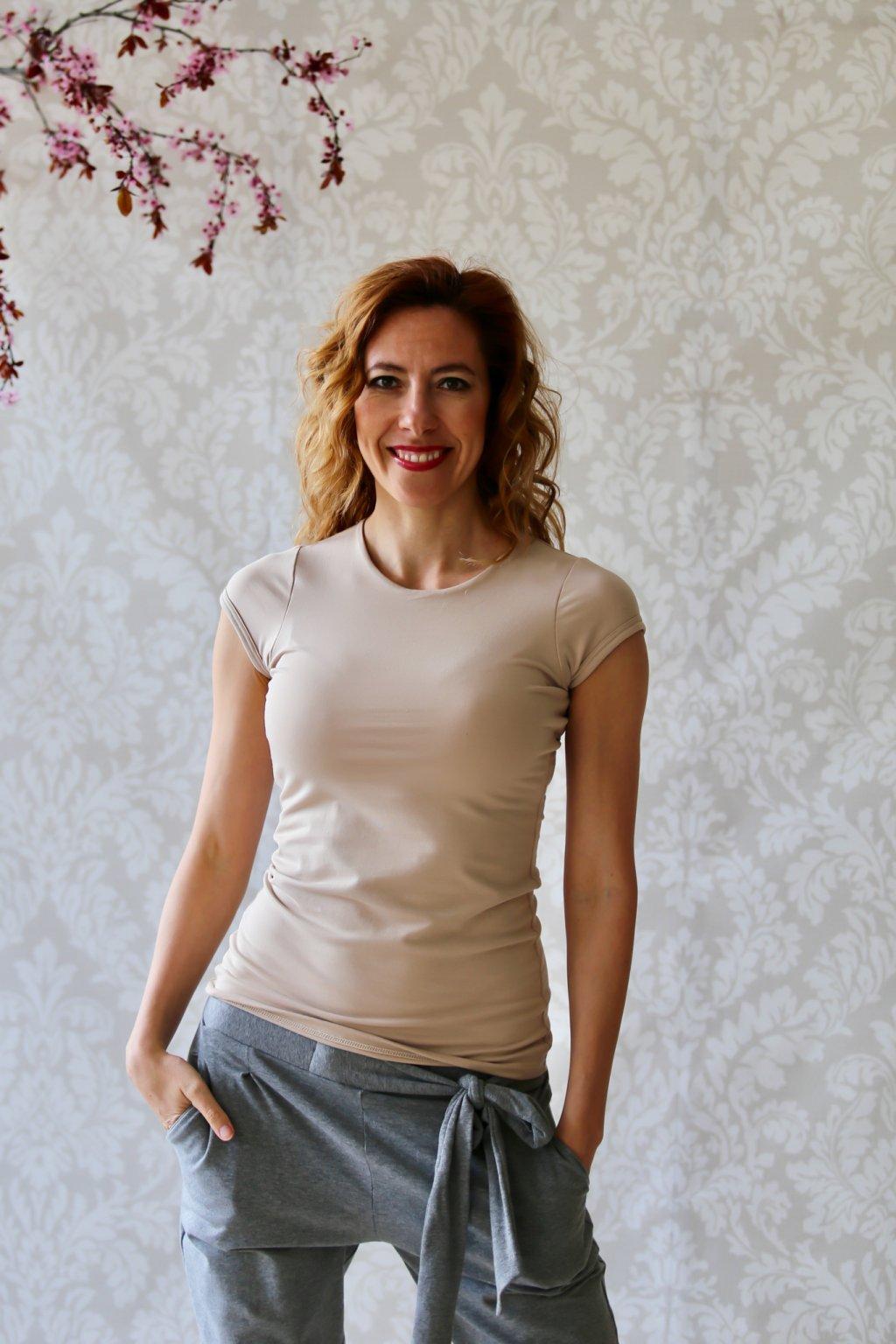Tričko s kulatým výstřihem Donn / Cappuccino